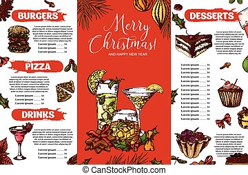 Template for restaurant brochure. Christmas festive winter menu. Hand drawn elements in sketch style. Vector illustration