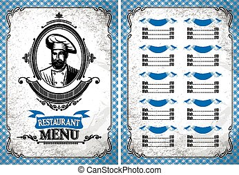 template for restaurant menu in retro style with chef