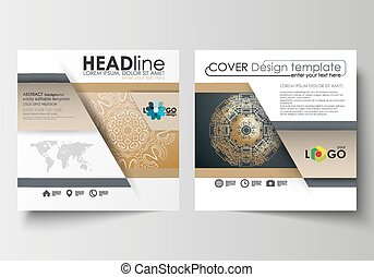 Template for square design brochure, magazine, flyer. Leaflet cover, flat layout, easy editable blank. Golden technology background, connection structure with connecting dots and lines, science vector