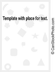 Template for text with geometric shapes on a white background.