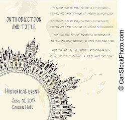 Template for the historical event invitation with castle