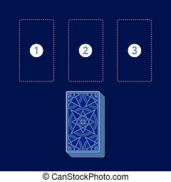 Template for three tarot card spread with deck