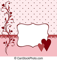 Template for Valentine or Wedding greetings card