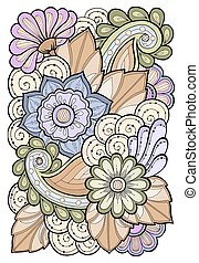 Template for vintage card with detailed hand drawn flowers.