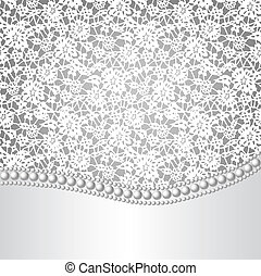 template for wedding, invitation or greeting card with lace background and pearl necklace