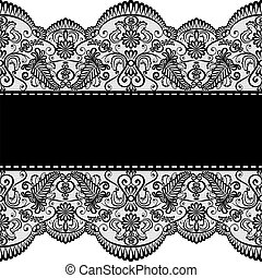 Template for wedding, invitation or greeting card with lace border