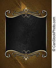 Black name plate with gold ornate edges, on gold background