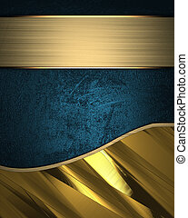 Template for writing. Blue and gold background separated golden line