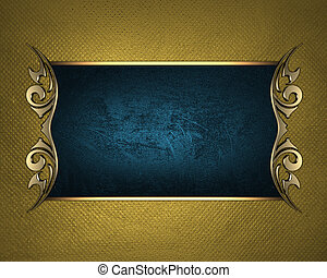 Blue name plate with gold ornate edges, on gold background