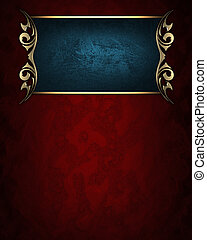 Blue name plate with gold ornate edges, on red background