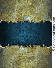 Blue name plate with gold ornate edges on shabby background