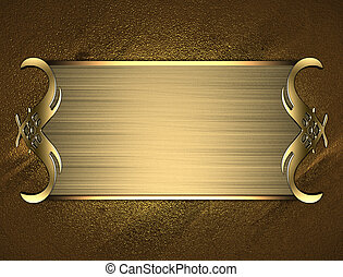 Gold name plate with gold ornate edges, on gold background
