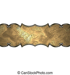 Gold nameplate with gold ornate edges, isolated on white background