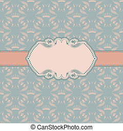 Vector template frame design for greeting card . Background - seamless pattern.