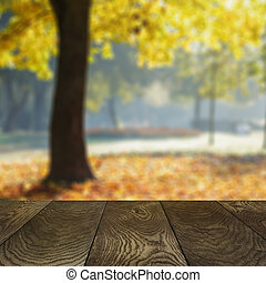 template from oak surface and natural blured background, for placing your product