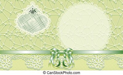 Template gift voucher with a bow and lace. Vector...