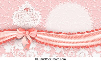 Template gift voucher with a satin ribbon and lace. Vector...