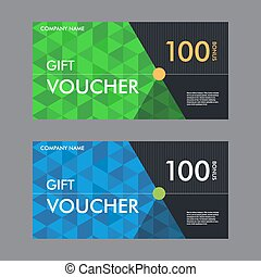 Template gift voucher with the background of the triangular...