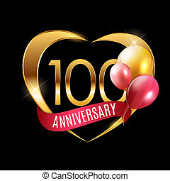 Template Gold Logo 100 Years Anniversary with Ribbon and Balloons Illustration