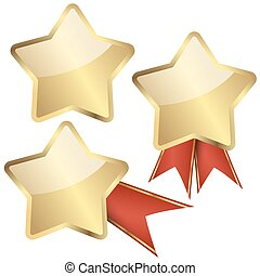 template golden star with ribbons - gold quality star...