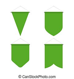 Pennant Set - Template Green Blank Realistic Pennant Set on ...