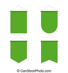 Pennant Set - Template Green Blank Realistic Pennant Set on...
