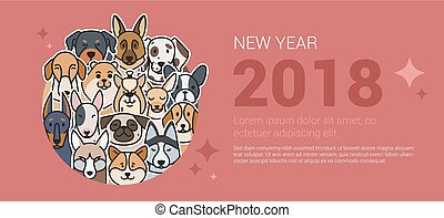 Template greeting banner with dogs.