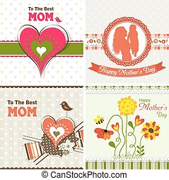 Template greeting card, mother day, vector