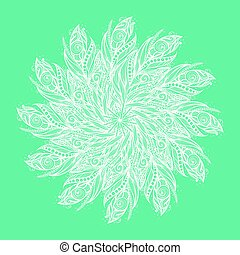 Template greeting card or invitation with feathers.