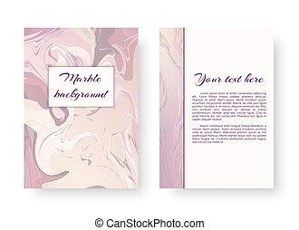 Template greeting card with marble texture - A postcard...