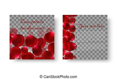 Template greeting card with red rose petals