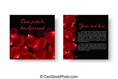 Template greeting card with rose petals