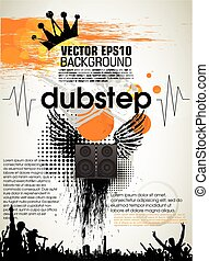 Template grunge party. Vector. music dubstep