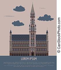 template., hall., 建物, ベルギー, 都市, グラフィック, 町
