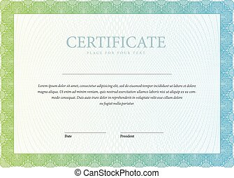 Template horizontal Certificate and diplomas. - Gold...