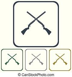 template - Hunting shot gun icon. Vector illustration
