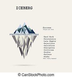 template., iceberg, concept., empresa / negocio, análisis, vector, infographic, riesgo, diagram., agua, idea, ilustración, acodado, educación