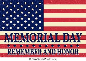 template., illustration., felice, vettore, flag., onore, americano, cima, fondo, commemorativo, ricordare, patriottico, poster., banner., giorno
