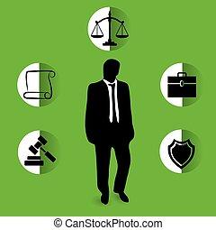 template., illustration., sagfører, vektor, konstruktion, logo, kontor, firma, tjenester, lov