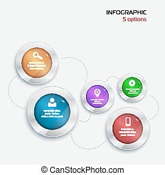 Template Infographic. 5 options. red green blue violet orange