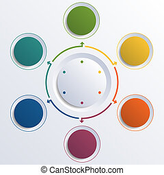Template infographic color circles round circle 6 positions...