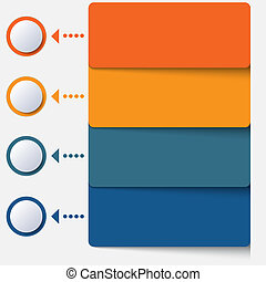 Template infographic color strips 4 positions