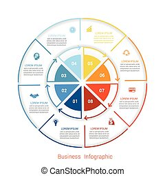 Template infographic eight position form of circle parts