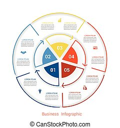 Template infographic five position form of circle parts