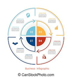 Template infographic four position form of circle parts
