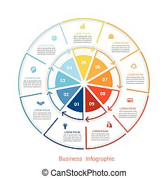 Template infographic nine position form of circle parts