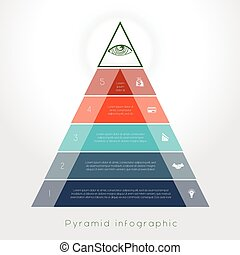 Template Infographic pyramid for five text area