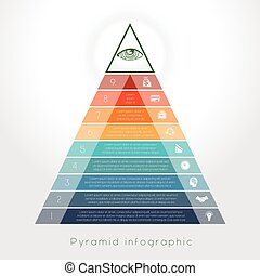 Template Infographic pyramid for nine text area