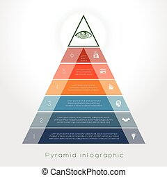Template Infographic pyramid for six text area