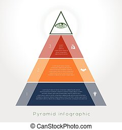 Template Infographic pyramid for three text area